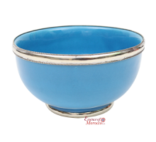 Moroccan Ceramic Bowl with Silver Edge Handmade in Morocco. 10 cm / 4 in  (Turquoise Blue)